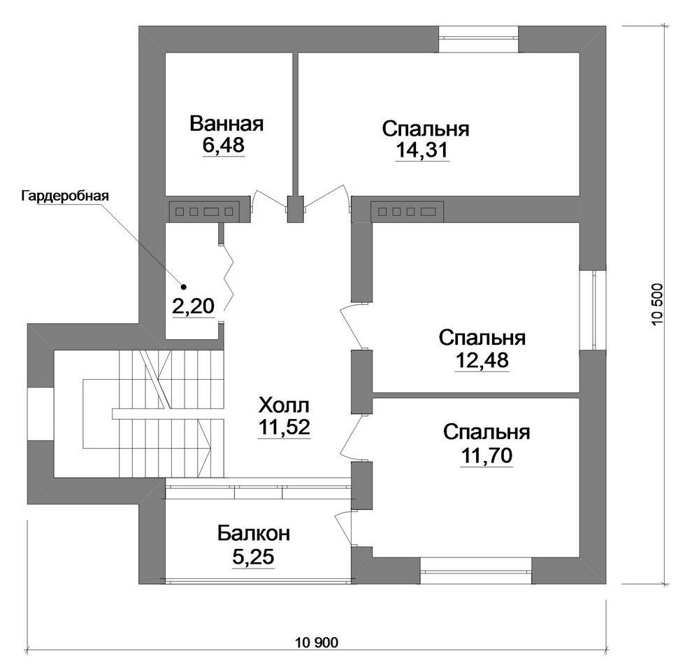 Pick C-237. Проект классического двухэтажного дома с тремя спальнями и террасой