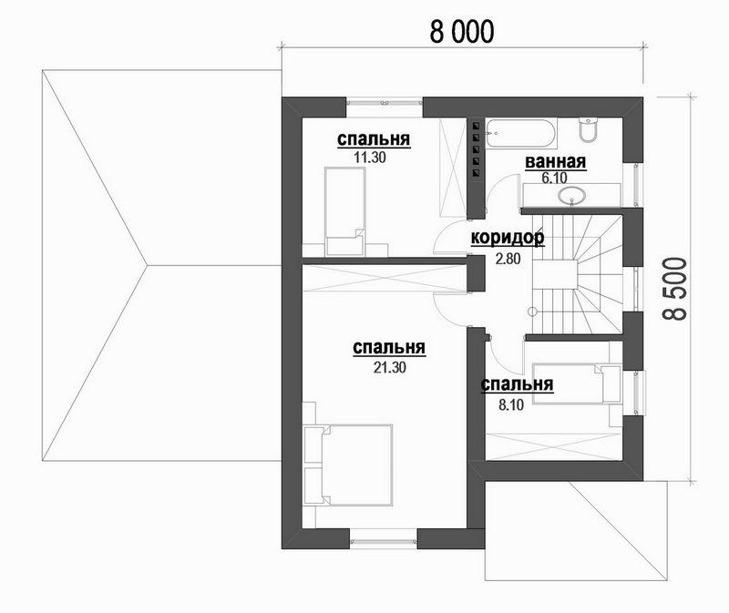 Пик B-181. Проект мансардного коттеджа на 3 спальни, с пристроенным гаражом
