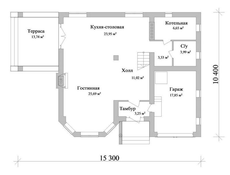 Пиксель C-187. Проект двухэтажного дома на 3 спальни, с пристроенным гаражом и террасой