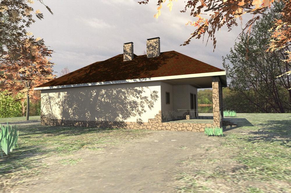 Пирос C-157. Проект одноэтажного дома с тремя спальнями и террасой