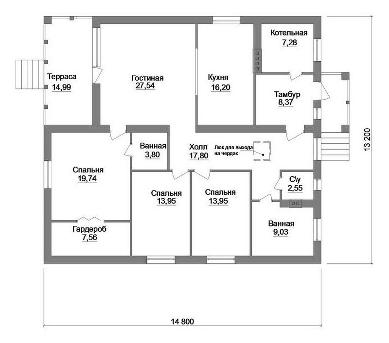 Плеск C-181. Проект одноэтажного дома на 3 спальни, с террасой