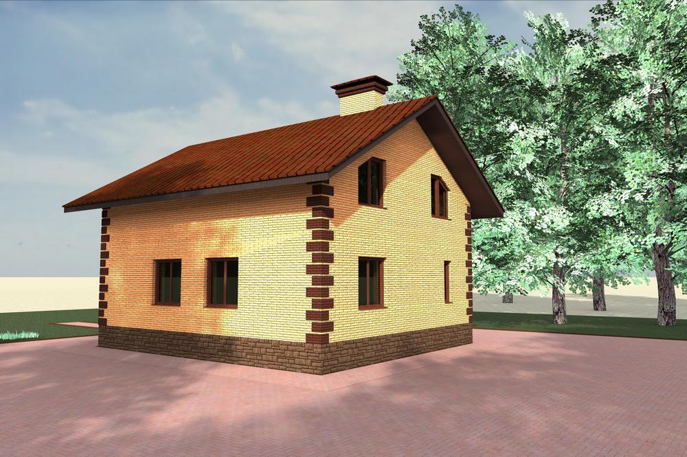 Полин B-109. Проект мансардного дома на 4 спальни с простой планировкой