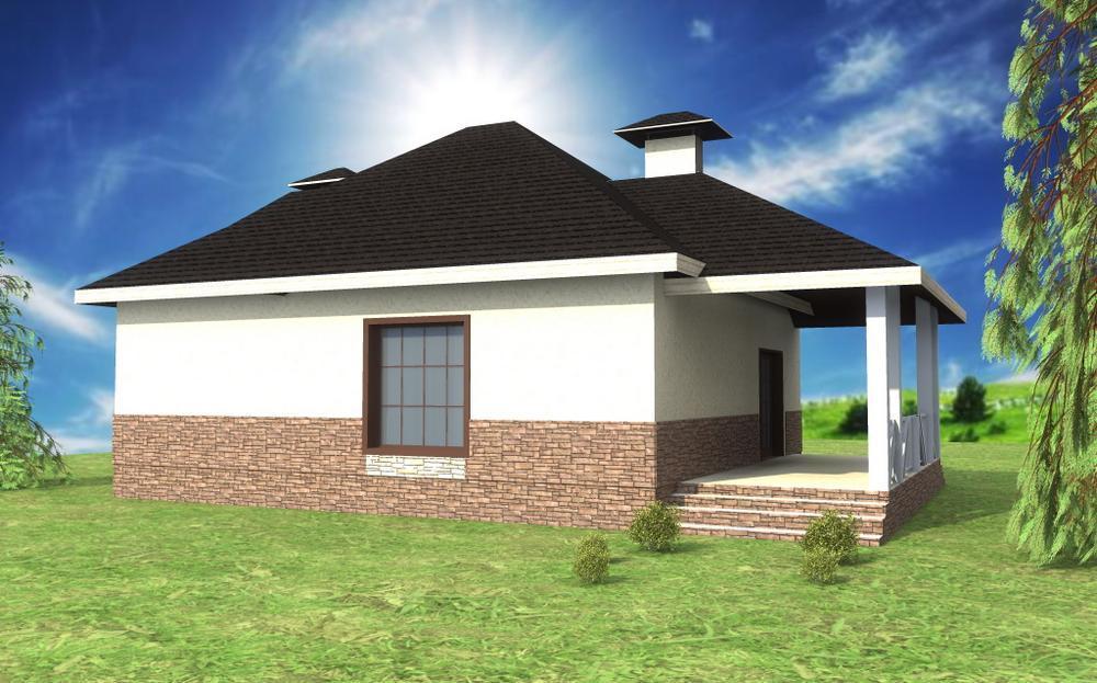 Портал A-057. Проект одноэтажного дома на 2 спальни, с треугольным эркером и террасой