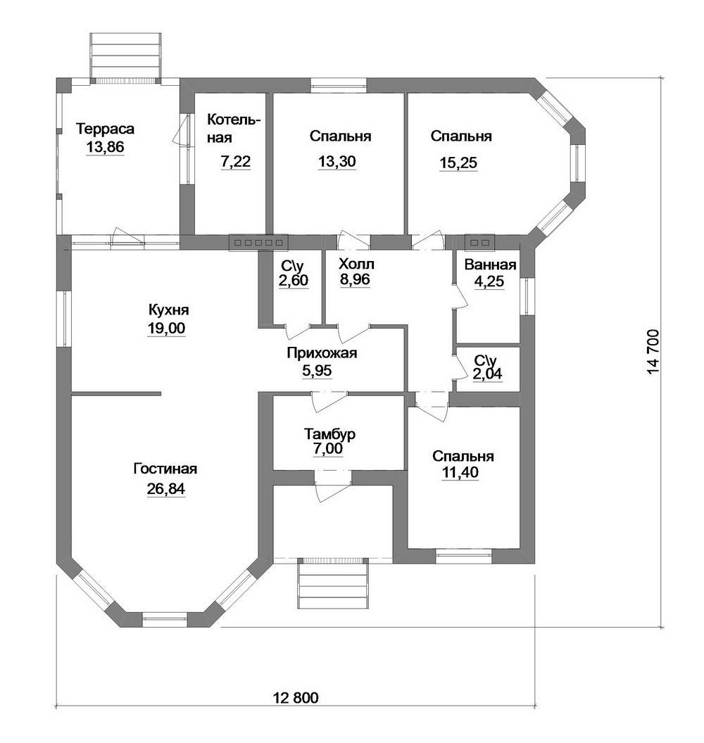 Посад B-216. Проект одноэтажного дома на 3 спальни, с террасой, эркерами