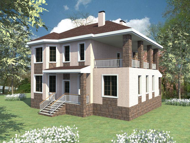 Приорат E-028. Проект двухэтажного дома на 5 спален, с террасой на втором этаже