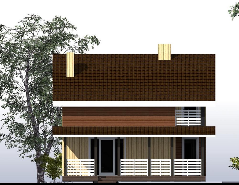 Прометей B-269. Проект дома с мансардой, тремя спальнями, балконом и террасой