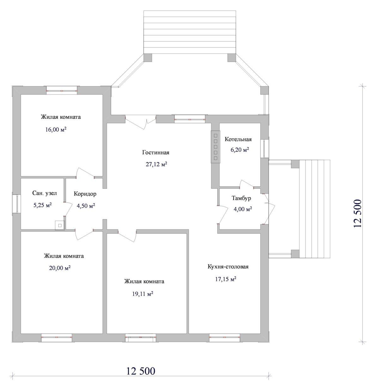 Прожектор B-003. Проект одноэтажного коттеджа с тремя спальнями и террасой