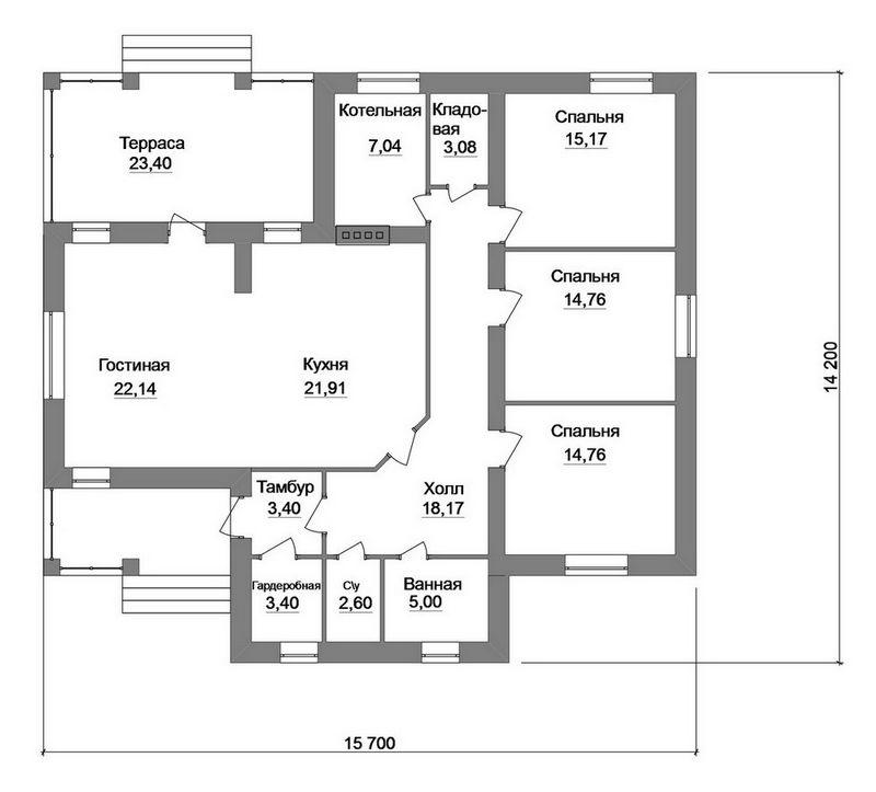 Райт C-196. Проект одноэтажного дома с улучшенной планировкой