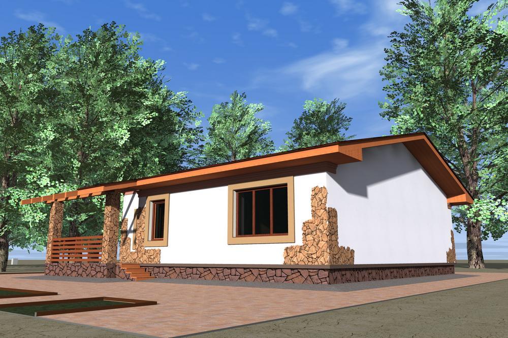 Ранчо Парк B-121. Проект одноэтажного дома на 2 спальни, с террасами