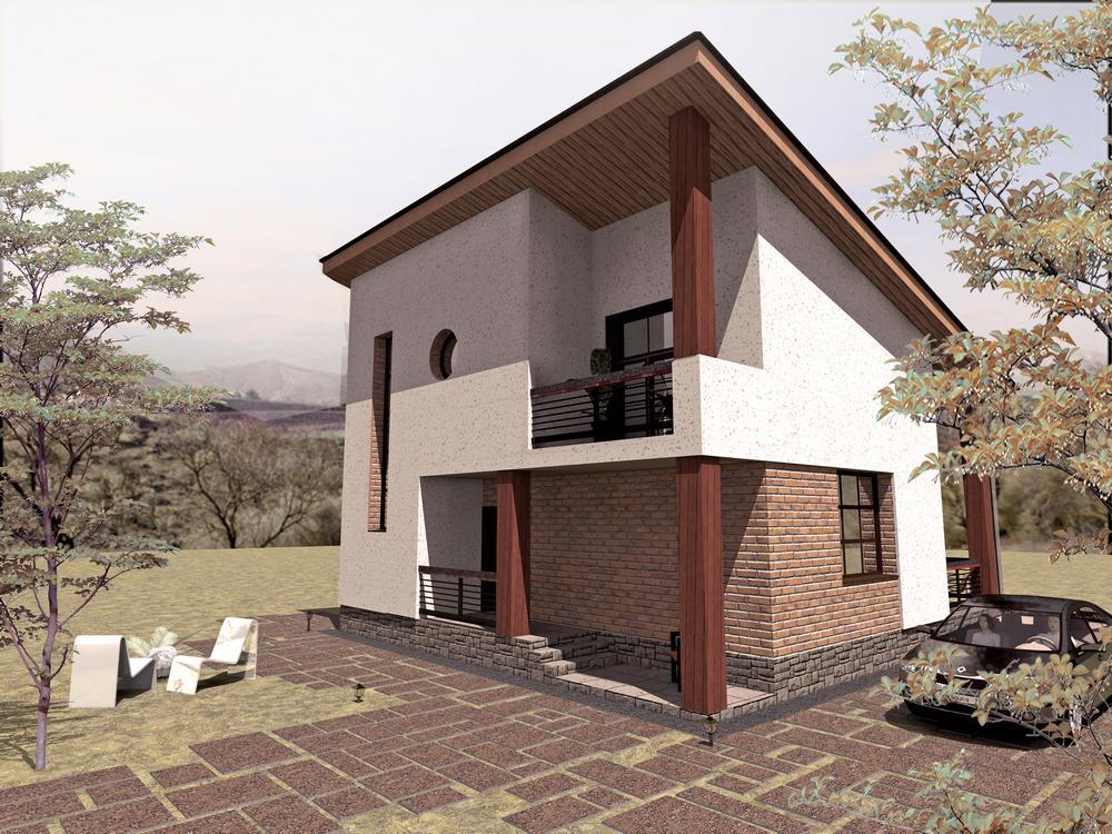 Ранг B-151. Проект современного мансардного коттеджа на 2 спальни, с террасой