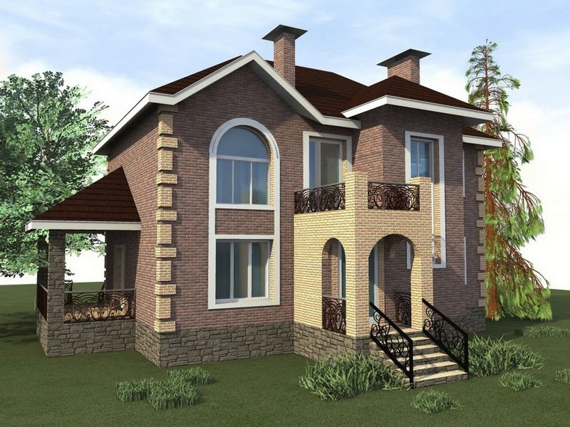 Регламент C-198. Проект классического двухэтажного коттеджа на 5 спален, с террасой