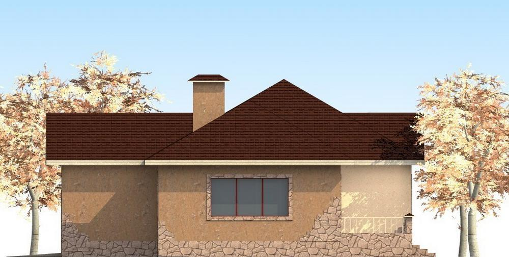 Рейт B-165. Проект одноэтажного дома с тремя спальнями, гаражом и террасой