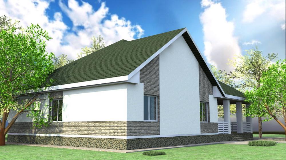 Ремарк C-233. Проект одноэтажного дома с террасой, на 3 спальни