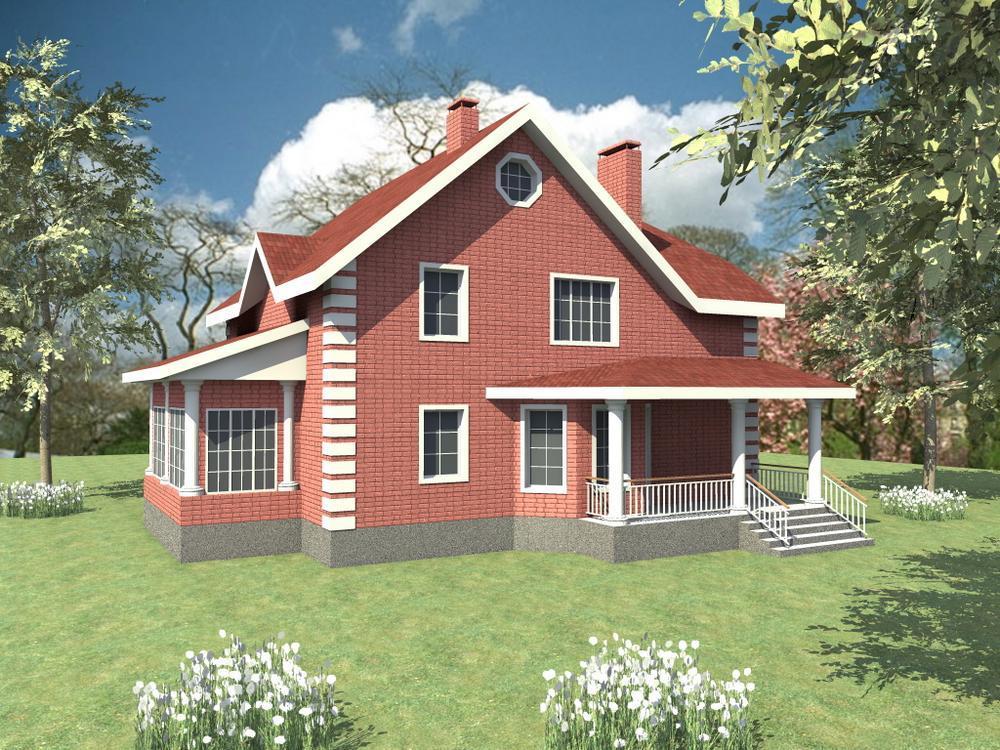 Рерик C-089. Проект дома с мансардой, зимним садом, четырьмя спальнями и террасой