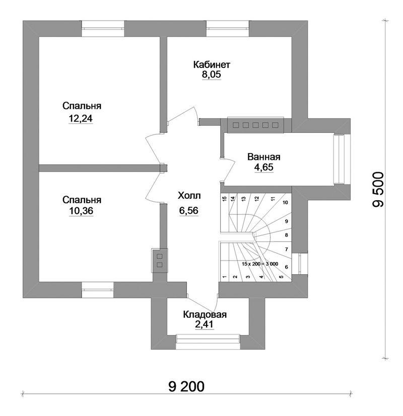 Рональд A-034. Проект дома с мансардой с двумя спальнями и кабинетом