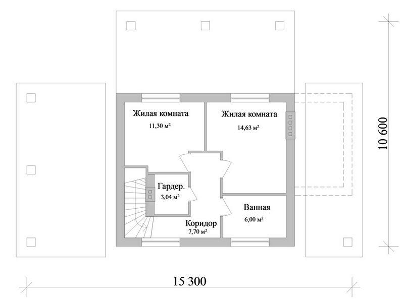 Рошфор-ан-Тер C-097. Проект мансардного коттеджа на 3 спальни, с террасой и подвалом