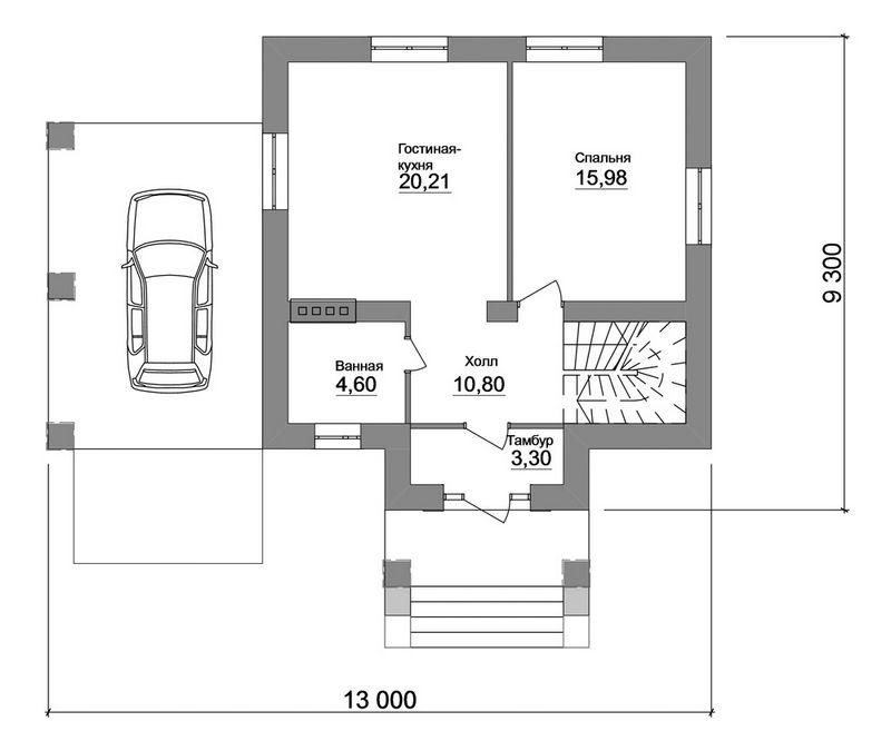Ротенбург B-157 с видеообзором. Проект мансардного дома на 3 спальни, с навесом для авто