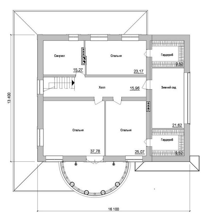 Royal F-042. Проект уникального двухэтажного дома на 4 спальни, с зимним садом и пристроенным гаражом