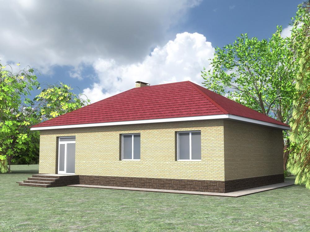 Рубиновая дача A-074. Проект одноэтажного дома на 3 спальни с большой кухней-гостиной