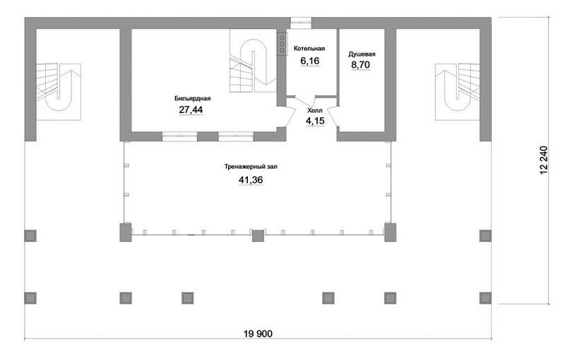 Русские Альпы F-054 с видеообзором. Проект одноэтажного коттеджа с мансардой, кабинетом, бильярдной, спортзалом