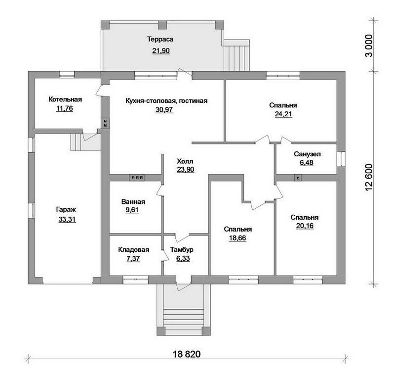 Руссо D-085. Проект одноэтажного дома с тремя спальнями, гаражом и террасой