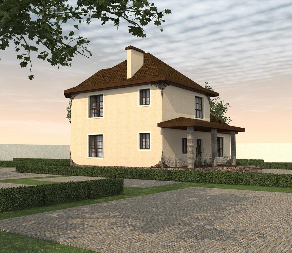 Саффолк C-211. Проект двухэтажного дома на 4 спальни, с гаражом и террасой