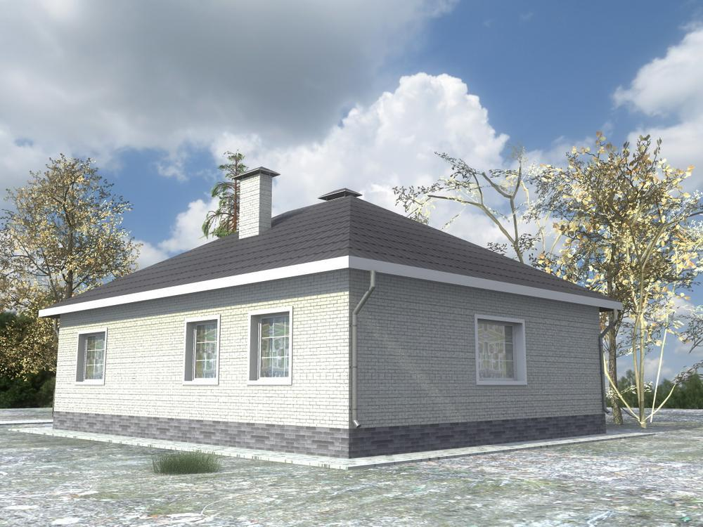 Саган B-210. Проект простого одноэтажного дома с четырьмя спальнями