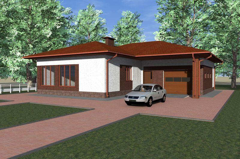 Саиф C-116. Проект одноэтажного дома на 3 спальни, с гаражом