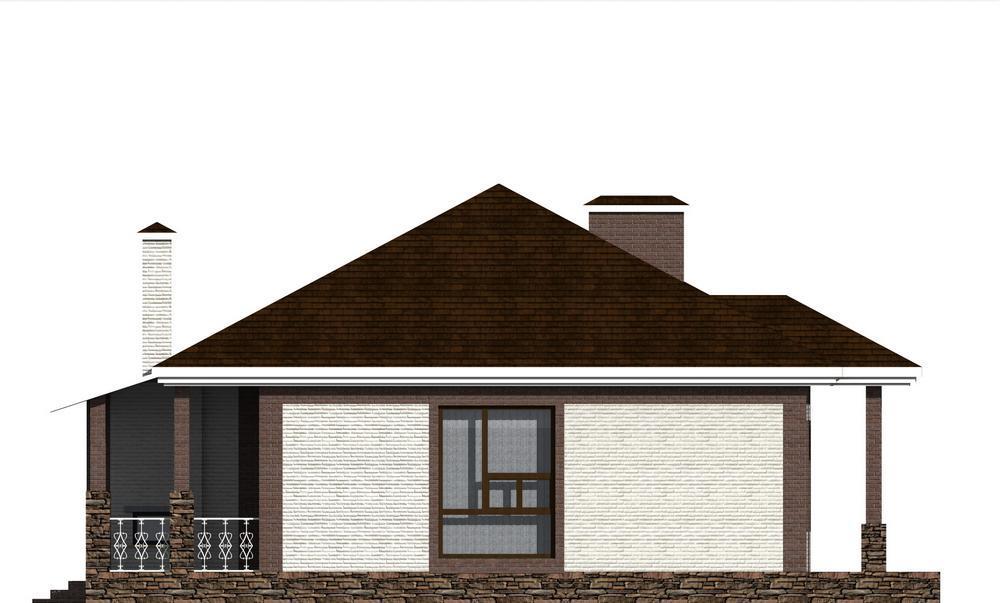 САЙМОН B-208. Проект одноэтажного дома на 2 спальни, с террасой и кабинетом