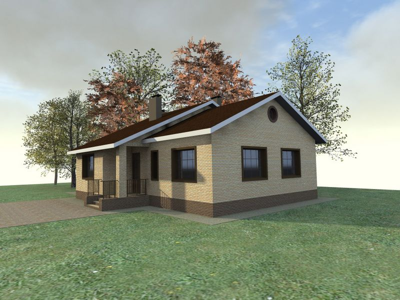 Сакс C-143. Проект 1-этажного дома с двумя спальнями и баней