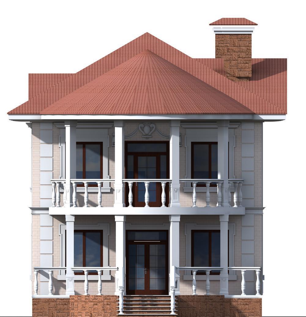 Самир D-054. Проект двухэтажного коттеджа на 3 спальни, с полукруглой террасой и балконом