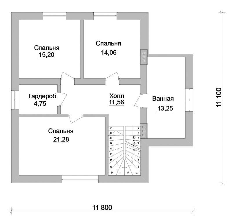 Сандалф C-129. Проект мансардного коттеджа на 3 спальни