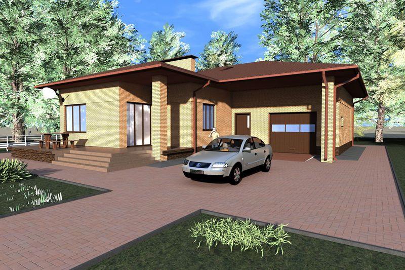 Санжак D-046. Проект мансардного коттеджа с гаражом и террасой, на 4 спальни