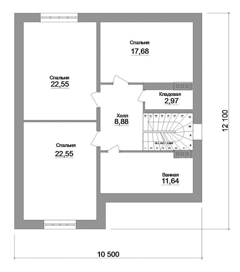 Сенсор C-147. Проект мансардного дома на 4 спальни, с террасой