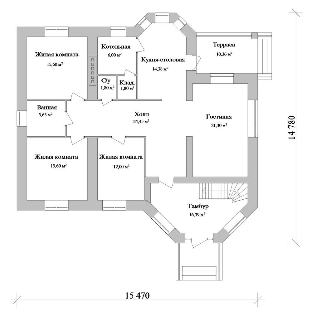 Серсея B-258. Проект одноэтажного дома на 3 спальни, с мезонином и террасой