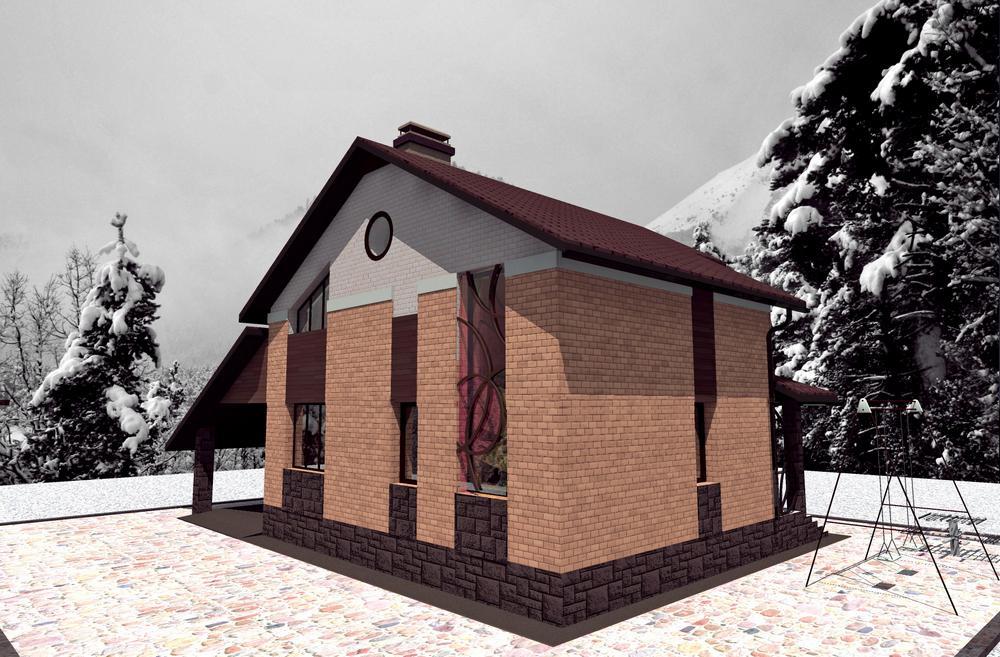 Северное сияние A-049. Проект небольшого мансардного коттеджа на 2 спальни, с навесом для авто