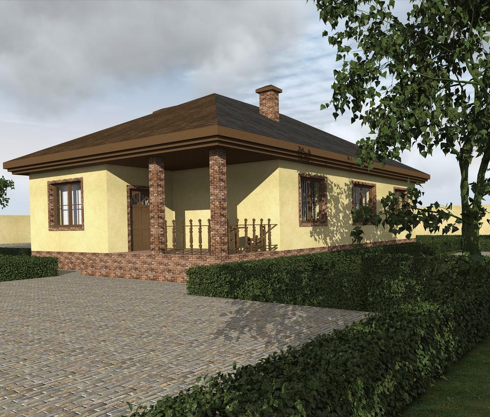 ШАНТАЛ B-209. Проект одноэтажного дома с двумя спальнями, кладовой и террасой