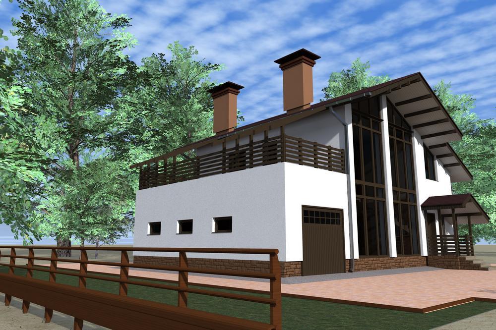 Шотландец D-062. Проект одноэтажного коттеджа с мансардой, гаражом, на 4 спальни