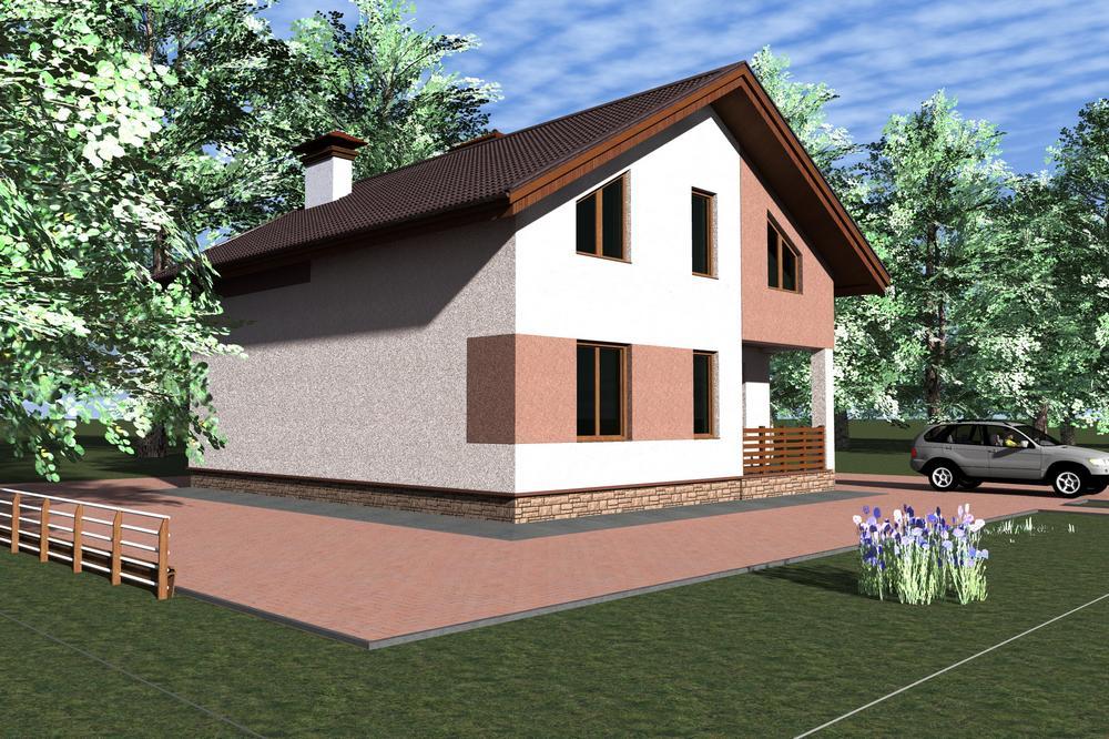 Синедад C-139. Проект мансардного дома на 4 спальни, с террасой