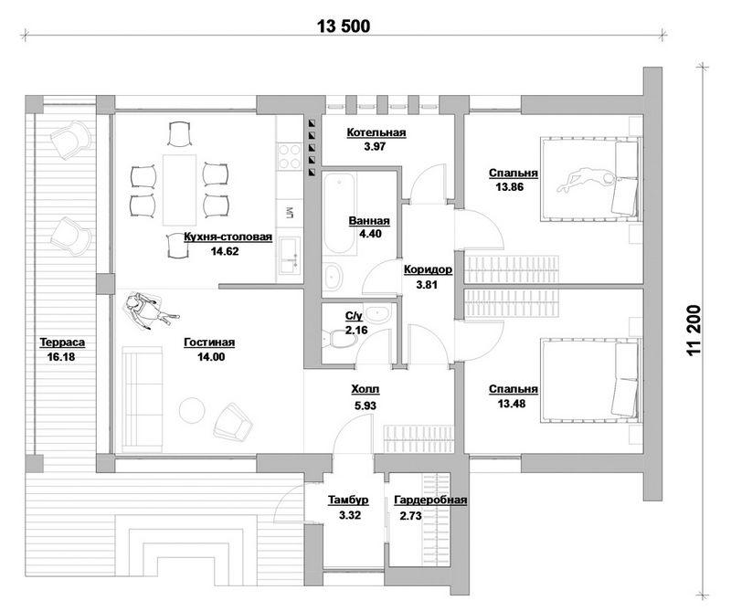 Синопсис A-048 с видеообзором. Проект современного 1-этажного коттеджа на 2 спальни с террасой