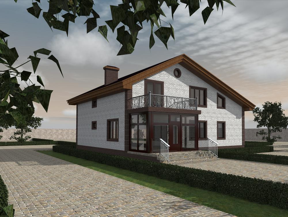 Скандинав E-045. Проект мансардного дома, на 4 спальни, с гаражом и игровой комнатой