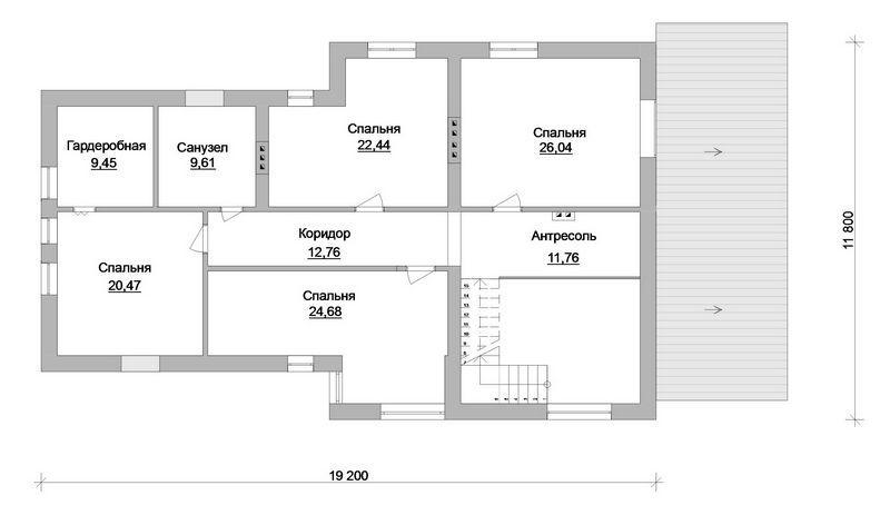 Скиф F-058. Проект большого мансардного коттеджа на 5 спален, с гаражом на 2 авто, террасой и верандой
