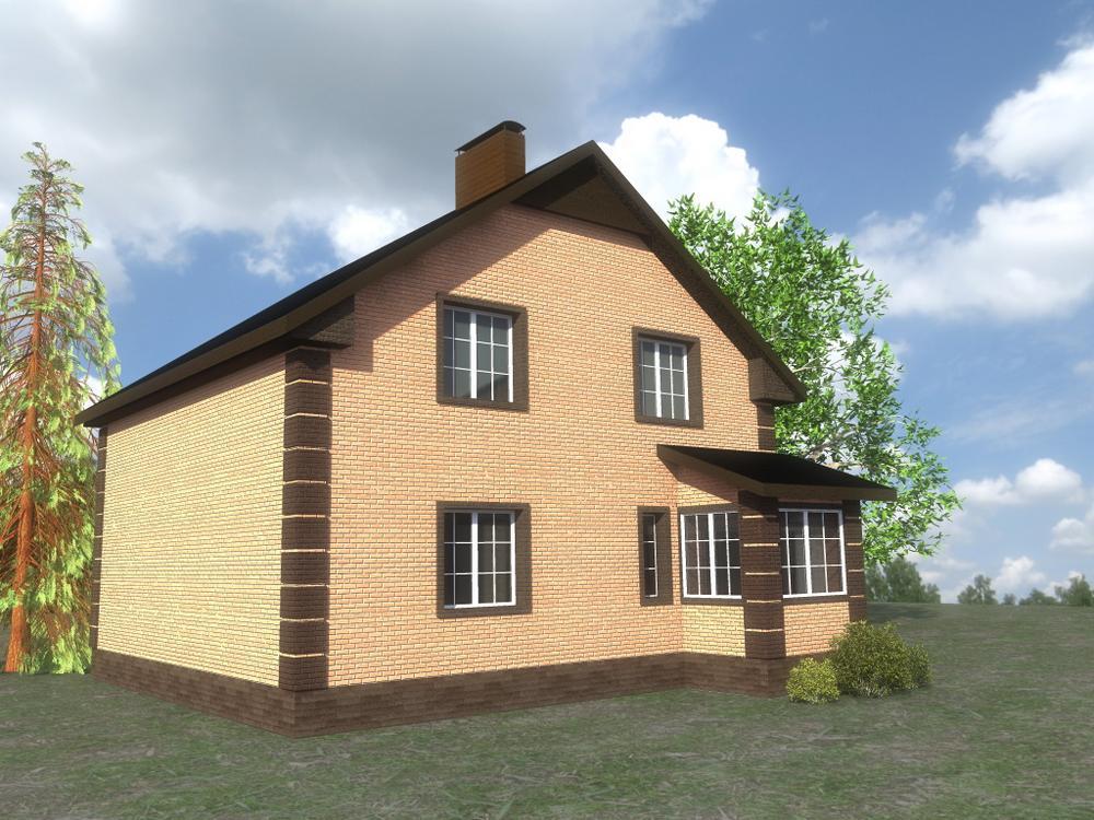 Скит B-219. Проект простого мансардного дома с четырьмя спальнями