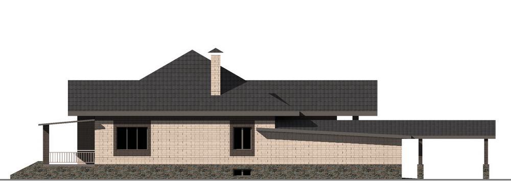 Скрудж F-077. Проект одноэтажного дома на 3 спальни, с цокольным этажом, гаражом и террасой