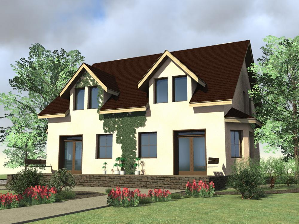 СОАВТОР D-052. Проект мансардного коттеджа на 2 семьи с открытой террасой