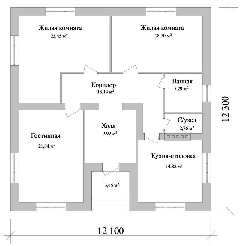 Софос B-105. Проект квадратного одноэтажного дома на 2 спальни
