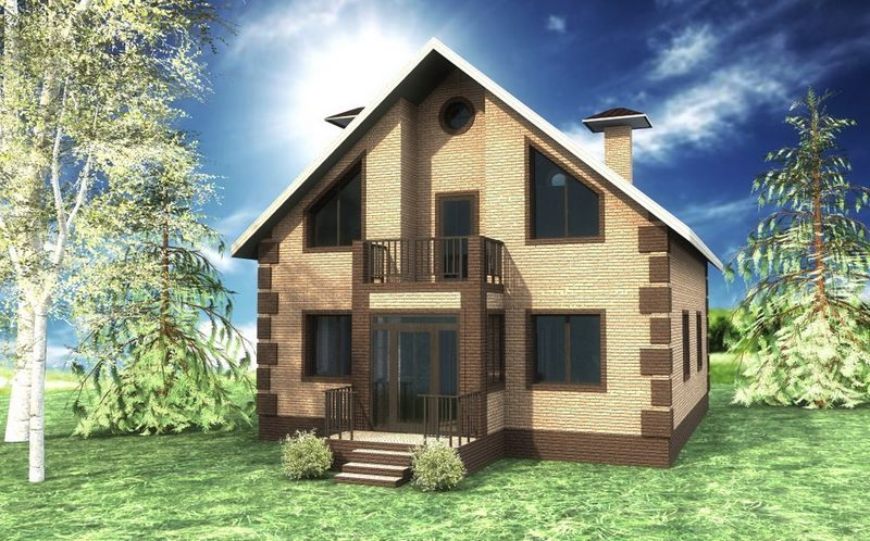 СОФТ C-174. Проект дома с мансардой и четырьмя спальнями