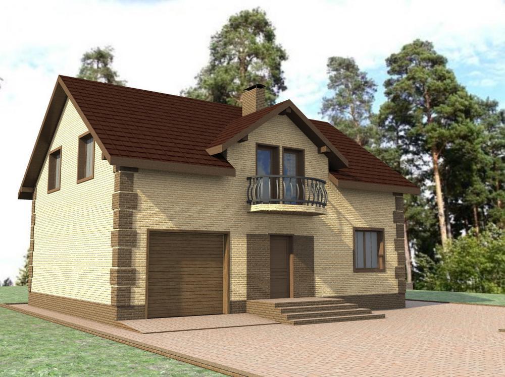 Солт C-218. Проект мансардного дома с тремя спальнями, террасой и гаражом