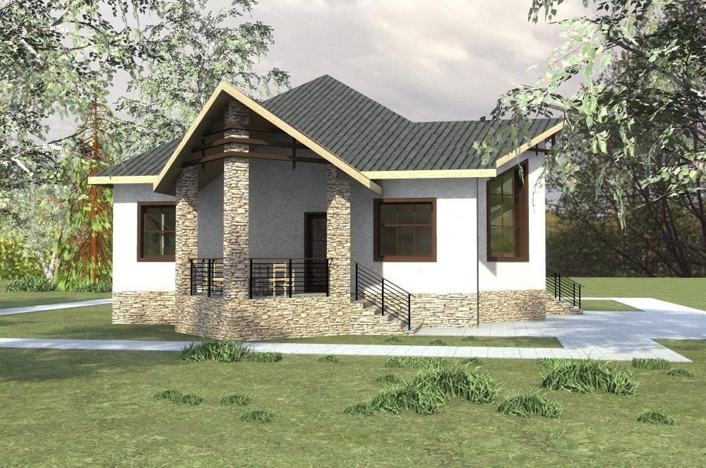 Солярис A-041. Проект одноэтажного дома с двумя спальнями и террасой