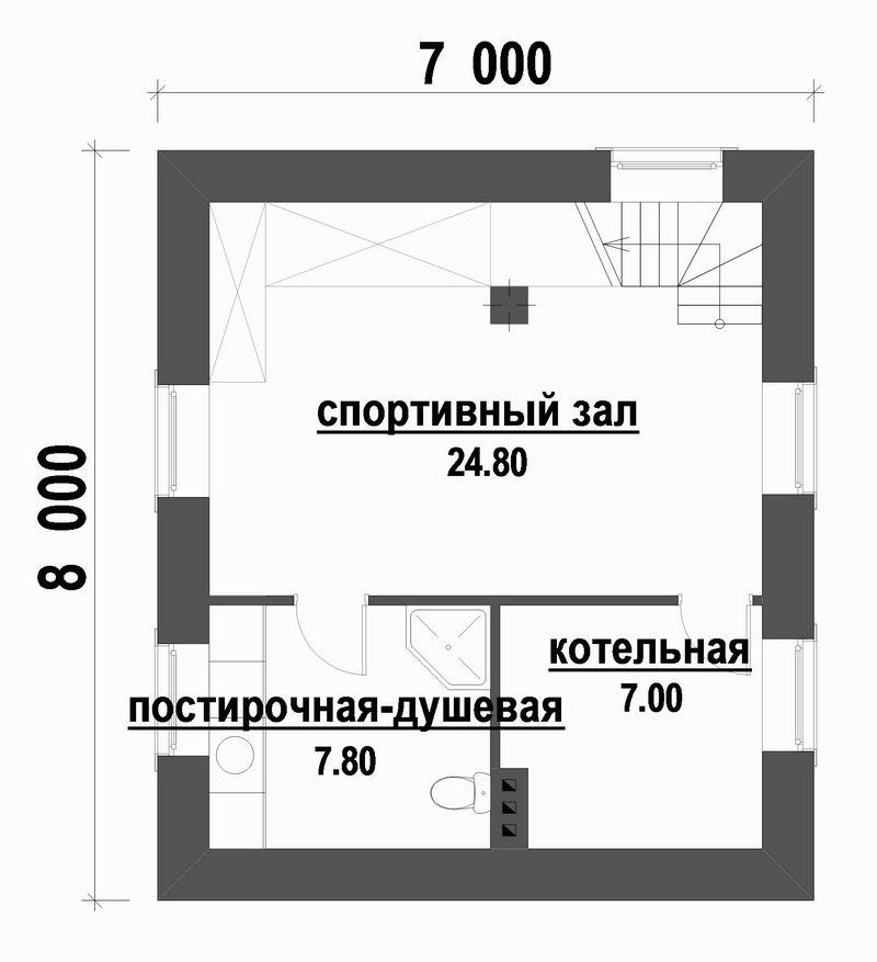 Сомерсет B-204. Проект двухэтажного цокольного дома с 2 спальнями и террасой
